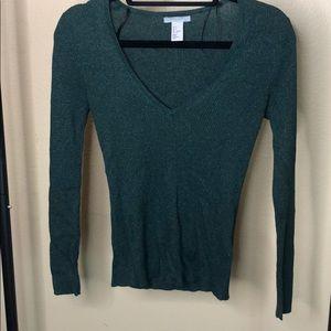 Green V neck sweater H&M